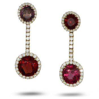 Delicate and colourful pair of earrings set with spinels and diamonds